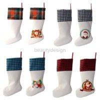Sublimation Buffalo Plaid Christmas Stocking 4 Colors Blank Halloween Candy Socks Santa Gift Bag Xmas Tree Oranment DD