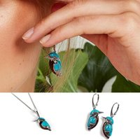 Creative Fashion Kingfisher Earrings Women Girls Party Accessories Jewelry Bohemia Style Retro Turquoise Bird Necklace Chains