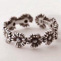 Daisy Retro Retro Sunflower Feminino Open Jewelry Bandas De Casamento Instrução Anéis Mulheres Noivado Metal