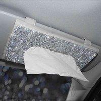 حجر الراين كريستال سيارة الأنسجة مربع للشمس قناع السيارات شنقا الأنسجة مربع الماس ظلة حالة السيارات اكسسوارات السيارات 210326