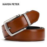 Mens Genuine Leather Belt Reversible For Jeans Male Rotated Buckle Dress Belts Designer Cowskin Leather Belts For Men Black