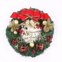 30CM Artificial Christmas Wreath Front Door Ornament Wall Garland Hanging Rattan Ornaments Bow Bell Party Show Decorative Flowers By sea T2I52908