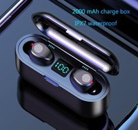 Wireless Earphones Bluetooth V5.0 F9 TWS Wire less BT Headphone LED Display With 2000mAh Power Bank Headset mic