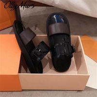 Lalymurs frauen drucken patentleder marke auf-tang slide sandal dame leinwand brief anatomic leder outsohle designe