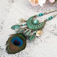 Largo nuevo estilo collar de borla pavo real pluma bohemia shell suéter cadena de cuero joyería diseño exagerado