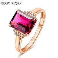 Cluster Rings BIJOX STORY Classic 925 Sterling Silver Ring With Rectangle Ruby Gemstones Fine Jewelry Adjustable For Women Wedding Party