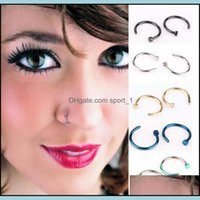 & Jewelrynose Rings Body Art Fashion Jewelry Stainless Steel Open Hoop Earring Studs Fake Nose Ring Non Piercing 537 Drop Delivery 2021 Hoxi