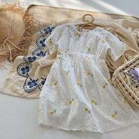 Childern Amarillo Flor Algodón Vestidos de manga corta Moda Princesa Princesa Niño Niños Vestido Vestido Ropa