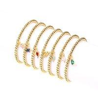 Charm Bracelets EYIKA Cute Mini Dinosaur Multicolor Zircon Copper Metal Beads Adjustable Elastic Bracelet For Women Ancient Creatures Jewelr