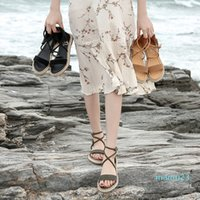 Women Faux Suede Sandals Fashion Summer Shoes Woman Flat Sandals Rope Lace Up Gladiator Sandals Non-slip Beach Chaussures Femme