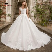 Other Wedding Dresses Ball Gown Short Sleeve Tulle Lace Appliques Crystal Belt Formal Bridal 2022 Design Custom Made DS06
