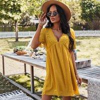 섹시한 깊은 V- 목 쉬폰 여름 드레스 레이스 Boho Beach 여성을위한 우아한 드레스 캐주얼 느슨한 아가씨 검은 미니 파티 가운 210421
