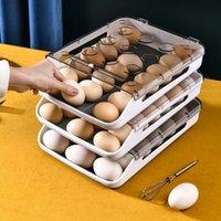 New Automatic Rolling Egg Box Kitchen Items Refrigerator Storage Organizer Household Transparent Drawer Tray Space Saver