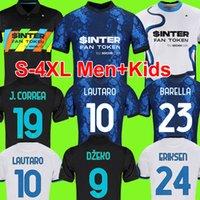 S-4XL Inter Futbol Formaları Dzeko Correa Milan Lautaro Vidal Barella Eriksen Hakimi Alexis Futbol Gömlek 2021 2022 Erkekler + Çocuk Kiti Üniformaları Üçüncü Üst