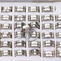 15Pairs / lot Forever Love Silver Couleur en acier inoxydable Polissage interne Couple Couple pour hommes Femmes Mariage Engagementt Bijoux