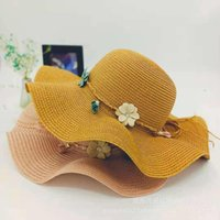 snapbacks Big wave adult women's leather tassel rope knot leisure vacation Beach sun protection straw Hat travel