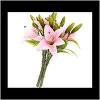 Wreaths Festive Party Supplies & Garden6Pcs Real Touch Lilies Artificial Flower Bouquets Home Wedding Bridal Decor Decorative Flowers 3 Heads