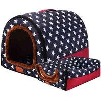 새로운 따뜻한 개 하우스 편안한 인쇄 별 개집 매트 애완 동물 강아지 최고 품질 접이식 고양이 침대 잠자는 침대 카카로