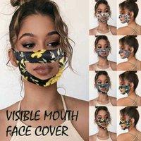 패션 플로랄 디자인 디자이너 마스크 PVC 투명 마스크 방진 가시 입을 씻을 수있는 비 일회용 귀마개 마스크