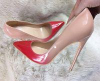 Mode Luxus Marke Designer Frauen Kleid Schuhe Rote Bottoms High Heels Plus Size EU34-45 Spitzzehen Party Schnalle Plattformpumpen Schwarz Weiß Rosa Mit Original Log