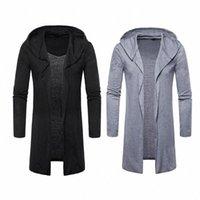 Sıcak Erkekler İlkbahar Sonbahar Siper Palto Ceket Rahat Kapüşonlu Hırka Uzun Pelerinler Pelerin Dış Giyim Açık Dikiş Masculino Coat 743 W #