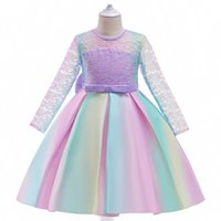 Girls Dresses Rainbow Kids Clothes Childrens Clothing Lace Princess Long Sleeve Colorful Skirt Large Bow Flower Party Formal Dress B7627