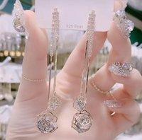 Lüks Pembe Kalp Uzun Küpe Kristal Tasarımcı Ile Gül Dangle Küpe Kadınlar Için 925 Gümüş İğne Elmas Takı Drop Shipping