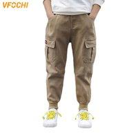 VFochi Marca 5-16T Boys Spring Summer Color Sólido Pantalones para niños Ropa adolescente Cintura Elástica Chico Pantalones de carga