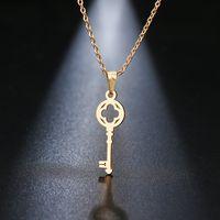 قلادة dotifi الفولاذ المقاوم للصدأ للنساء عاشق الأزياء مفتاح قلادة الترقوة القلائد عيد الحب بطاقة هدية المجوهرات