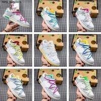 Auténtico Dunk SB Low The 50 Collection Man Hombre Zapatillas al aire libre Lote 1 Lienzo de cuero blanco Skate Shoe Sneakers Atléticos para hombre