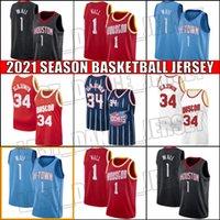 Houston.Foguetes.Jersey John 1 Wall Jerseys Rindo Hakeem 34 Olajuwon Jersey Basketball Uniforme XCV544A