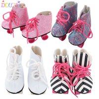 New Style Pink White Doll Handmade Skate Shoes Fit 43cm Born Baby Doll Boots 18 Inch Doll Shoes Children Best Birthday Gift Q0608