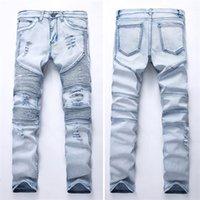 Bisikletçinin Jeans GD Erkekler Draped Kot Bahar Sonbahar Uzun Kalem Pantolon Delikler Streç Skinny Fit Slim Giyim Giyim Pantolon Cepler Tasarım