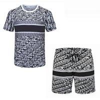 20ssss 2021 Мода Мужские трексески набор бегая пробежка высококачественных летних футболок брюки 2 шт.