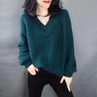 Women Autumn Winter Pullover Sweater Casual 2021 Soft Loose V-neck Knitted Cotton Sweaters Female Plus Size Tops 3XL Women's