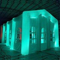 Casa de túnel branco inflável exterior multiuso da barraca branca com luzes do diodo emissor de luz Grande gazebo da propaganda do marquee para o partido da exposição do evento comercial