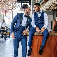 Men's Suits & Blazers Blue Tuxedos Dinner Prom Dresses Classic Suit Slim Fit Men Wedding 3 Pieces Father And Son Match