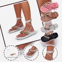 Sandals 2021 Summer Flat Women Fashion Roman Platform Metal Chain Ankle Strap Open Toe Shoes Lightweight Non-slip