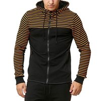 Mens Designer Clothes Full Zipper Casual Hoodies Sweatshirts Striped Panelled Autumn Men Hip Hop Jackets Loose Hooded Collar Overcoat