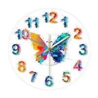 Pintura de borboleta de aquarela de relógios de parede com números relógio moderno relógio de suspensão giclée belas artes print silêncio relógio