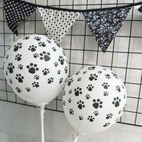 12 بوصة اللاتكس البالونات جرو الكلب موضوع الأسود باو طباعة جولة بالون حزب اللوازم 100 قطعة / الحزمة