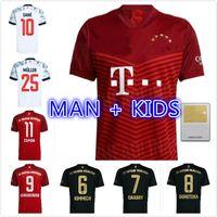 FANS JOGADOR VERSÃO 21 22 22 22 Davies Bayern de manga comprida Futebol Jerseys Goretzka Lewandowski Gnabry Muller Musiala Coman Camisa de Futebol Homens Kit Kids 2021 2022