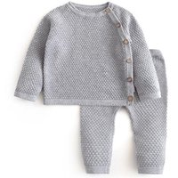 Baby Boy Girl Clothes Sets Spring Autumn Solid Born Clothing Long Sleeve Tops + Pants Outfits Casual Pajamas