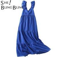 캐주얼 드레스 She Dressling Chic 자수 중공 포장 트림 여름 해변 긴 미디 드레스 깊은 V 높은 허리 여성 계층화