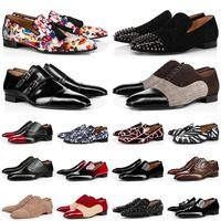 Hotsale Men Vestido Sapatos Vermelho Bottoms Greggo Mortimer Spikes Flat Mens Locais Sapatilhas Luxo Oxford Derby Sapato Preto Brown azul camurça de camurça de couro