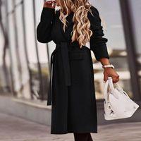 Women's Wool & Blends Lapel Long-sleeved Coat Solid Color Belt Work Jacket Keep Warm Waist Slim Veste Femme Fall winter