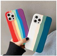 Жидкие силиконовые чехлы мобильных телефонов для iPhone 12 Pro Rainbow Stripe стиль iPhone11Pro Max защитная оболочка