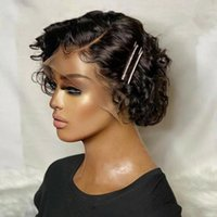 Lace Wigs Pixie Cut Wig Human Hair Short Curly Bob Pre Plucked Bouncy Wave Transparent T Part For Women