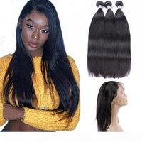 Paquetes rectos de cabello humano peruanos sin procesar con 360 cordones frontal ajustable 4 piezas Un conjunto Extensiones de cabello virgen 8-30 pulgadas