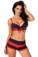 womens swimwear Newest Bikini Sexy Swimming Suit Three Points bandage striped Vest Tank Top Bra triangle tight backless low waist Beachwear Split Ladies swimsuit